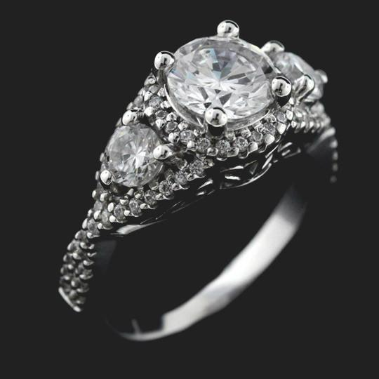 Aurora Vintage Three Stone Engagement Ring