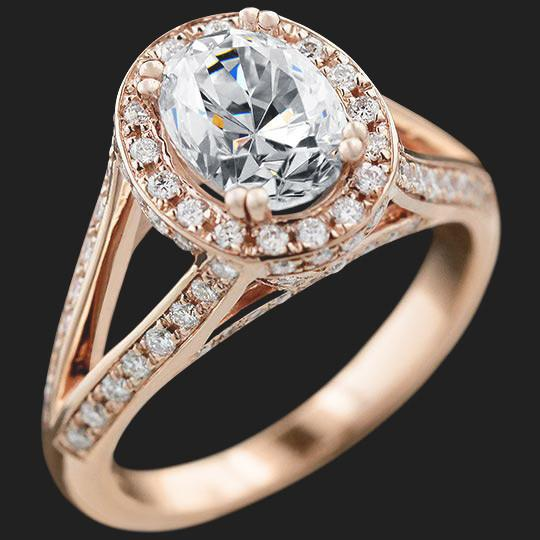 Kat Antique Engagement Ring shown with a 1.25ct Oval cut in 14KR|1.25ct Oval cut in 14KR