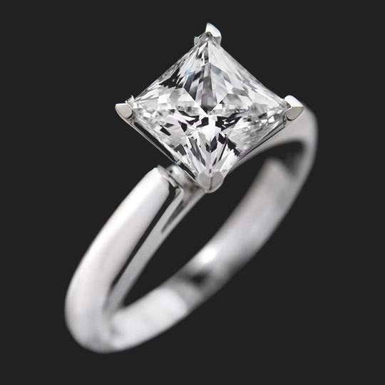 Sophia Solitaire Engagement Ring shown with a 2.0ct Princess cut in 18KW|2.0ct Princess cut in 18KW