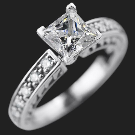 Sale Savannah Antique Engagement Ring - 1.0ct Princess Cut Diamond Hybrid®, 18K White Gold, Size 5.5