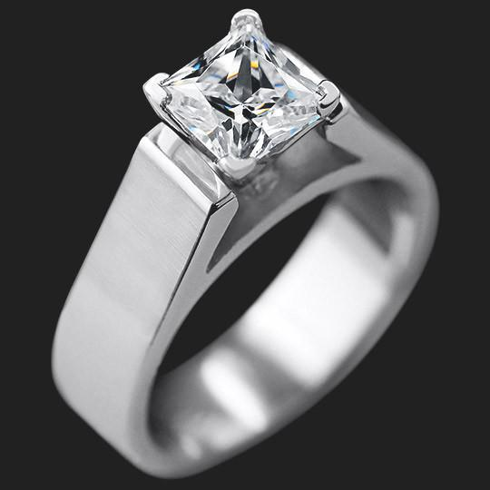 Alpental Engagement Ring shown with a 1.0ct Princess cut in 14KW|1.0ct Princess cut in 14KW