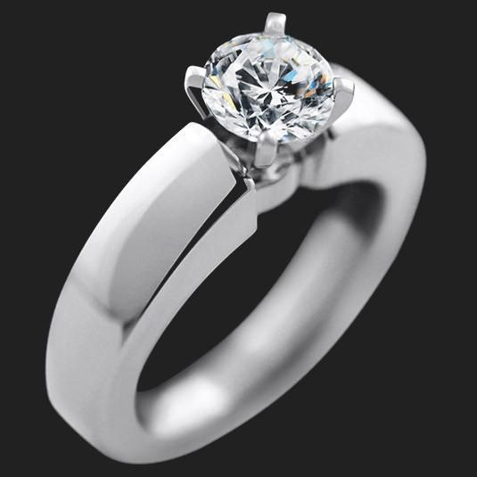 Clara Solitaire Engagement Ring shown with a 1.0ct Round cut in Palladium|1.0ct Round cut in Palladium