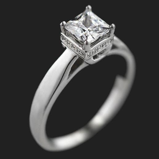 Alison Accented Engagement Ring shown with a 1.0ct Princess cut in 14KW|1.0ct Princess cut in 14KW