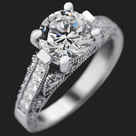 China Accented Engagement Ring shown with a 1.0ct Round cut in 14KW|1.0ct Round cut in 14KW
