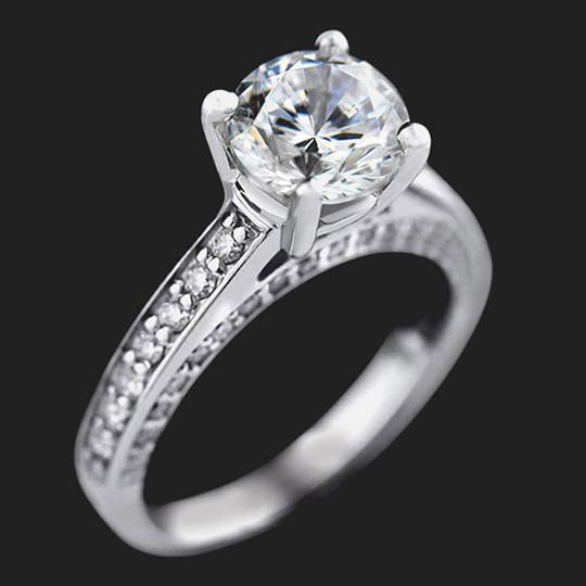 Brinkley Engagement Ring shown with a 2.0ct Round cut in 14KW|2.0ct Round cut in 14KW