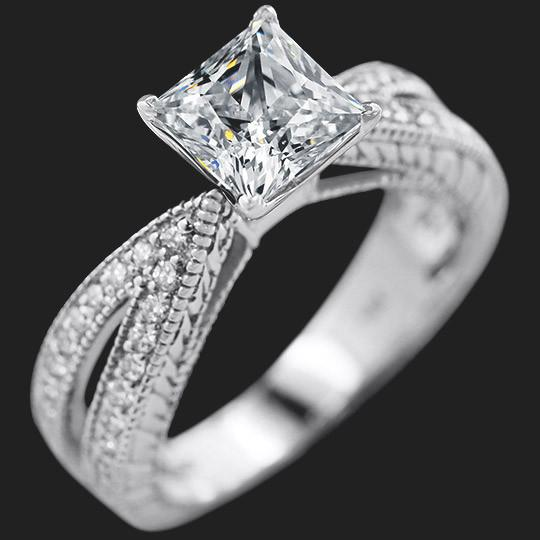 Jedda Engagement Ring shown with a 2.0ct Princess cut in 14KW|2.0ct Princess cut in 14KW