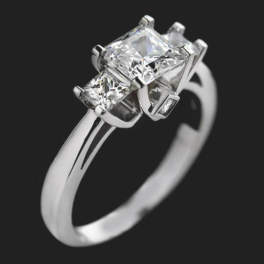 Shown with a 1.0ct Princess cut center stone and two 0.35ct Princess cut side stones in 14KW|1.0ct Princess cut center stone and two 0.35ct Princess cut side stones in 14KW