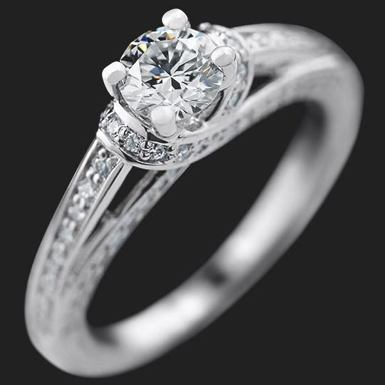 Kaden Accented Engagement Ring shown with a 0.51ct Round cut in Platinum|0.51ct Round cut in Platinum
