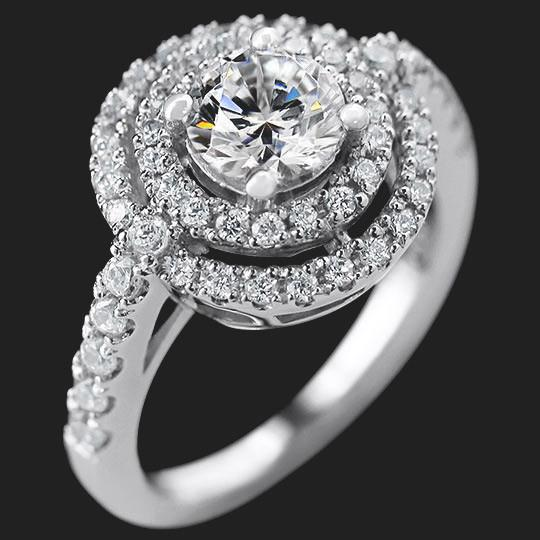 Pretty Woman Engagement Ring shown with a 1.0ct Round cut in 14KW|1.0ct Round cut in 14KW
