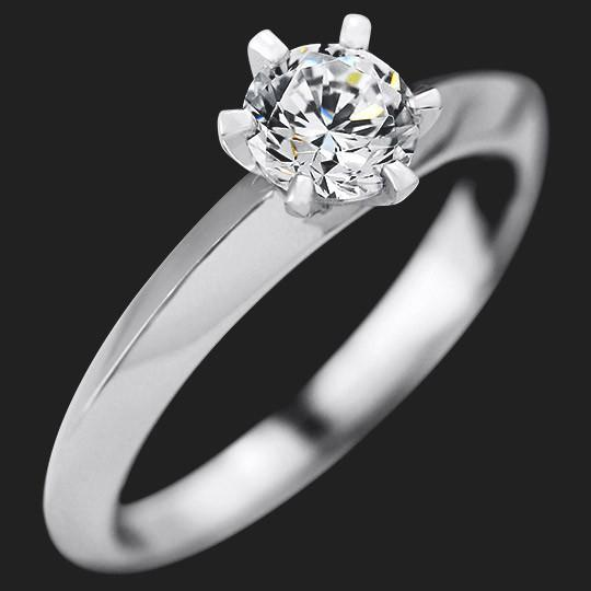 Tessie Solitaire Engagement Ring shown with a 0.50ct Round cut in 14KW|0.50ct Round cut in 14KW