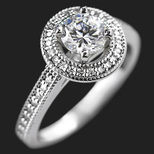 Forever Engagement Ring shown with a 1.0ct Round cut in 14KW|1.0ct Round cut in 14KW