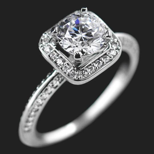 Devotion Accented Engagement Ring shown with a 1.0ct Round cut in 14KW|1.0ct Round cut in 14KW
