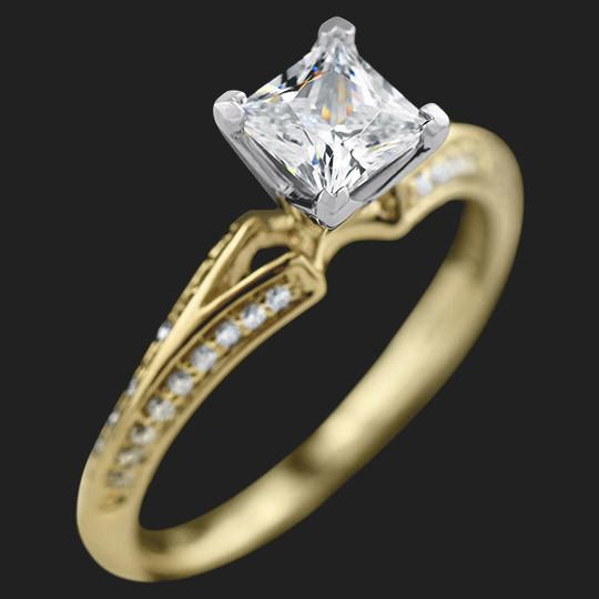 Pegasus Engagement Ring shown with a 0.75ct Princess cut in 14KY|0.75ct Princess cut in 14KY