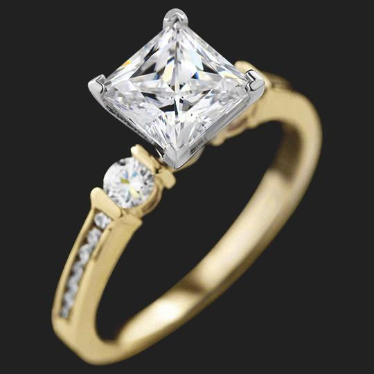 Cindy Accented Engagement Ring shown with a 1.50ct Princess cut in 14KY|1.50ct Princess cut in 14KY