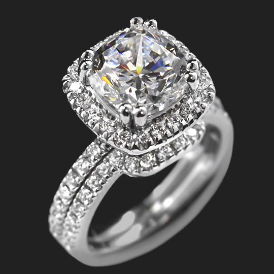 3.0ct cushion cut in 14KW|3.0ct cushion cut in 14KW