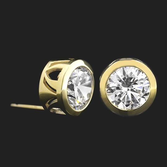 Filigree Bezel Earrings - Round Cut 2.5ctw Diamond Hybrid®, 14K Yellow Gold
