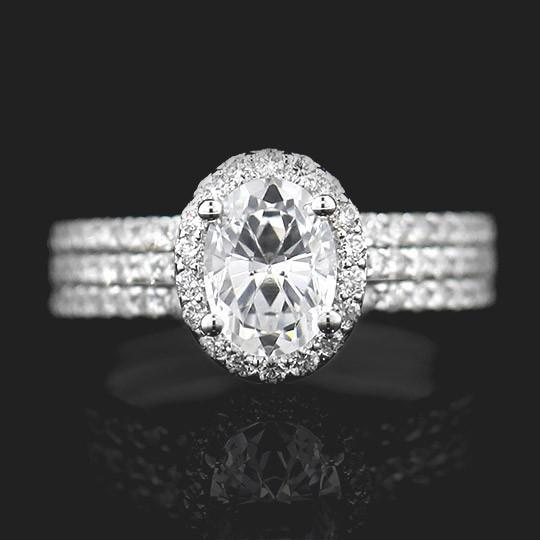 SALE Heroine Accented Wedding Set - Oval Cut 1.25ct Diamond Hybrid®