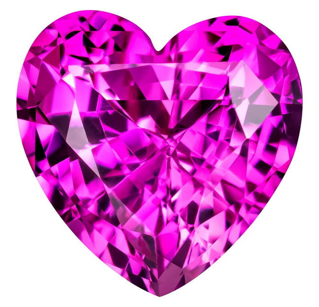 0.70 Carat Heart Cut Pink Sapphire Lab Created Gemstone