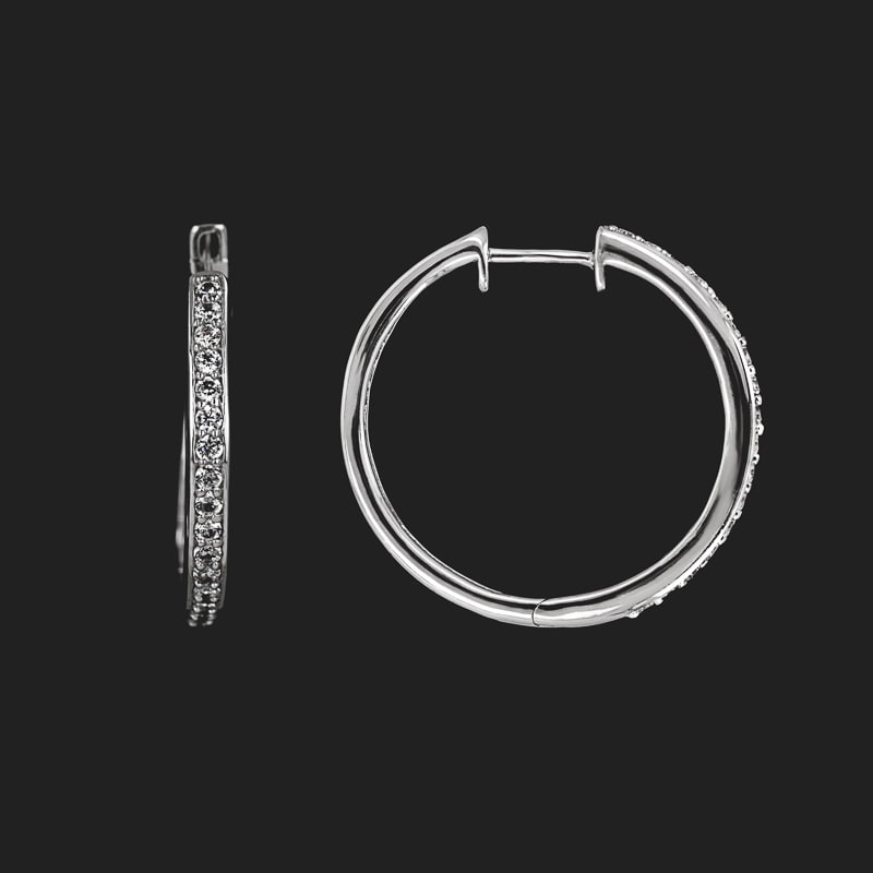 Lab Grown Diamond Channel Hoops 0.50ctw 14KW