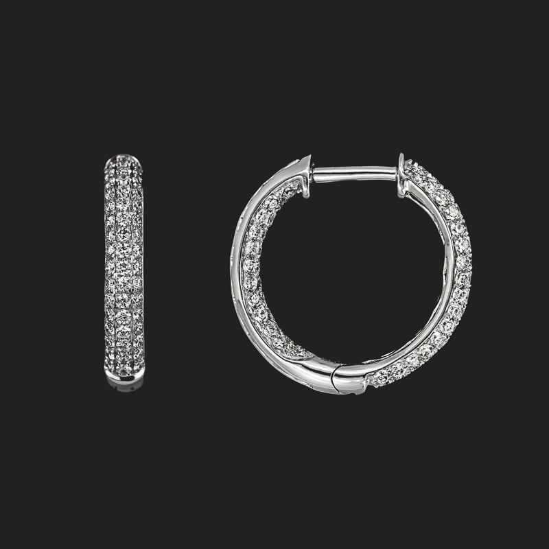 Lab Grown Diamond Pavé Inside Out Hoops 1.0ctw 14KW