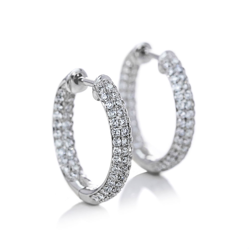 Lab Grown Diamond Pavé Inside Out Hoops 1.0ctw White