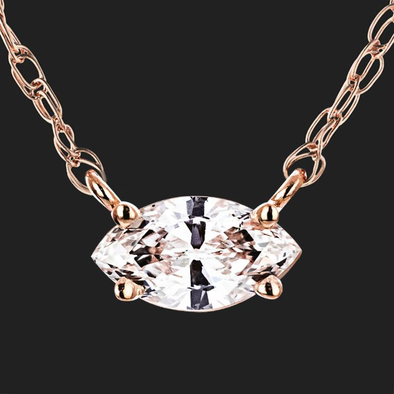 Marquise Petite Basket Necklace (RTS) - 14K Rose Gold