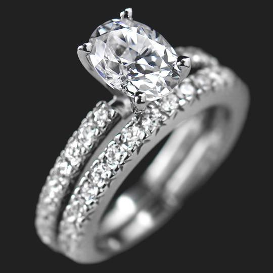 SALE Novu Wedding Ring Set - Oval Cut 1.25ct Diamond Hybrid®, 14K White gold, Size 4.25