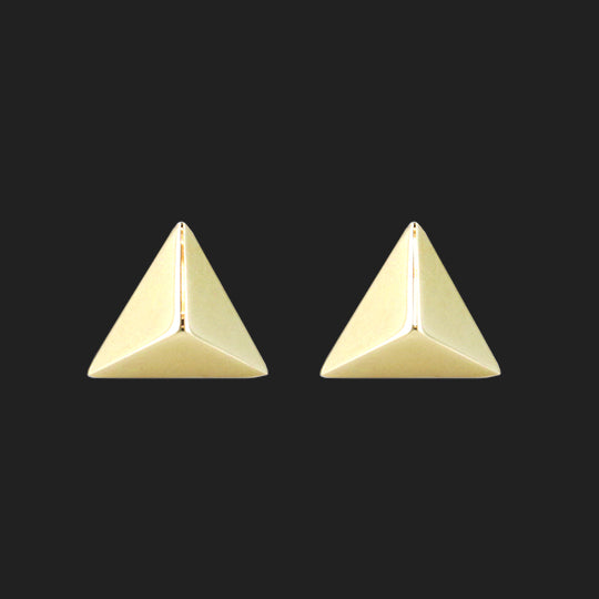Pyramid Stud Earrings (RTS) - 14K Yellow Gold