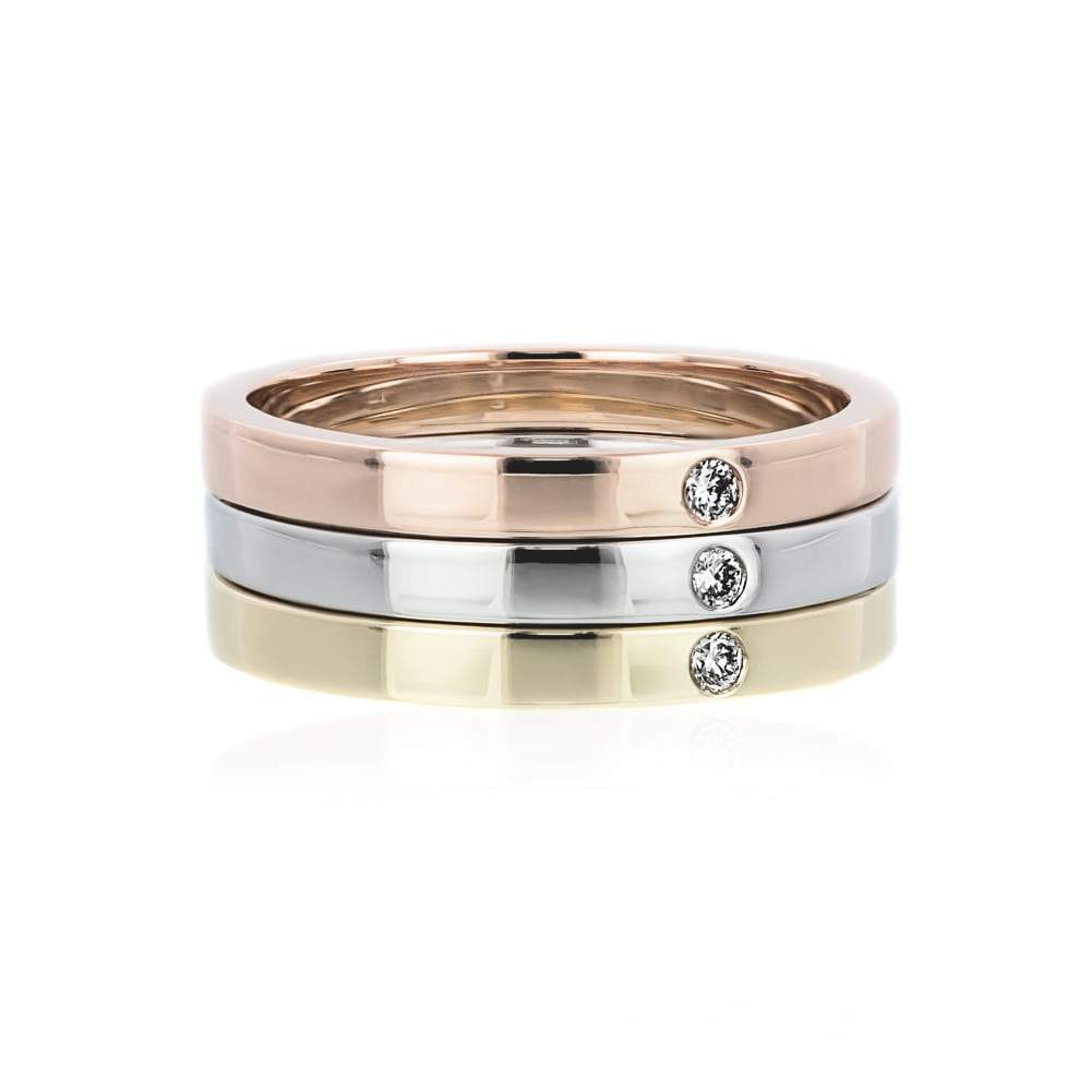 Single Stone Stackable Ring Set