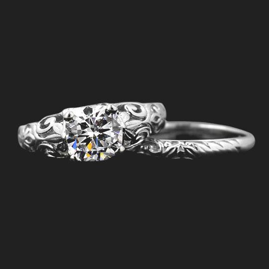 Tory Solitaire Diamond Wedding Ring Set