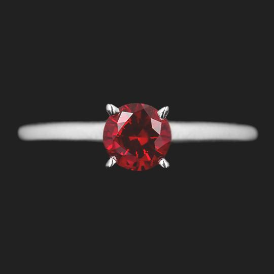 Round Cut 0.65ct Lab Grown Ruby in 14KW