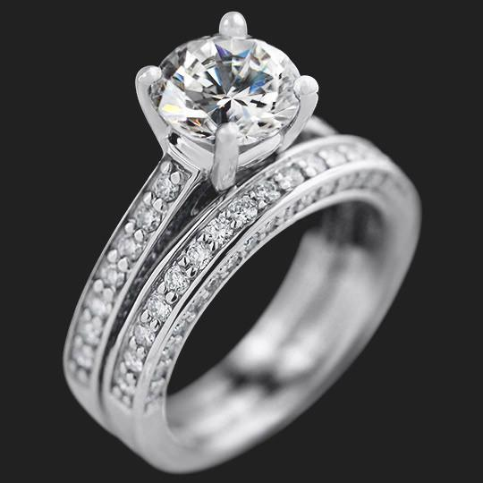Brinkley Wedding Set shown with a 2.0ct Round cut in 14KW|2.0ct Round cut in 14KW