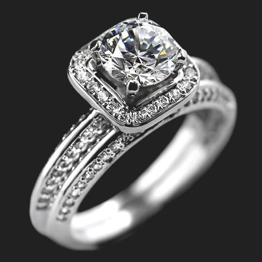 Devotion Accented Wedding Set shown with a 1.0ct Round cut in 14KW|1.0ct Round cut in 14KW