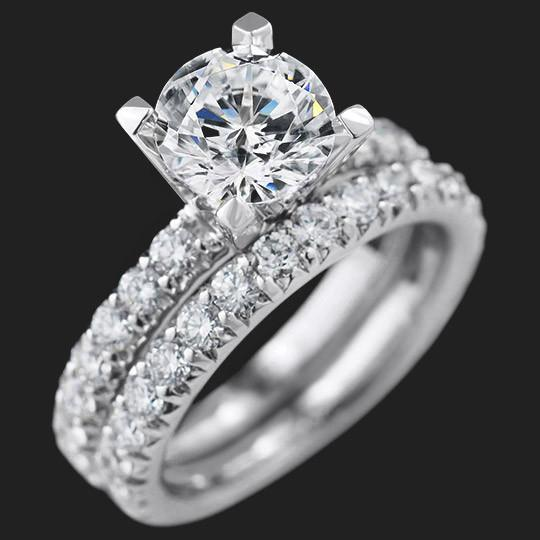 Tyra Accented Wedding Set shown with a 2.50ct Round cut in 14KW|2.50ct Round cut in 14KW