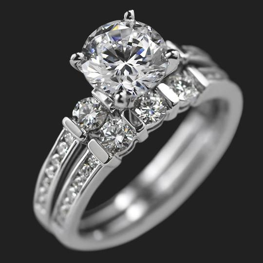 Shown with a 2.0ct Round cut in 14KW, 4 prong|2.0ct Round cut in 14KW, 4 prong