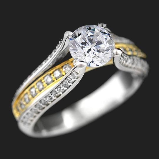 Everett Two Tone Engagement Ring shown with a 1.0ct Round cut in 14KW and 14KY|1.0ct Round cut in 14KW and 14KY