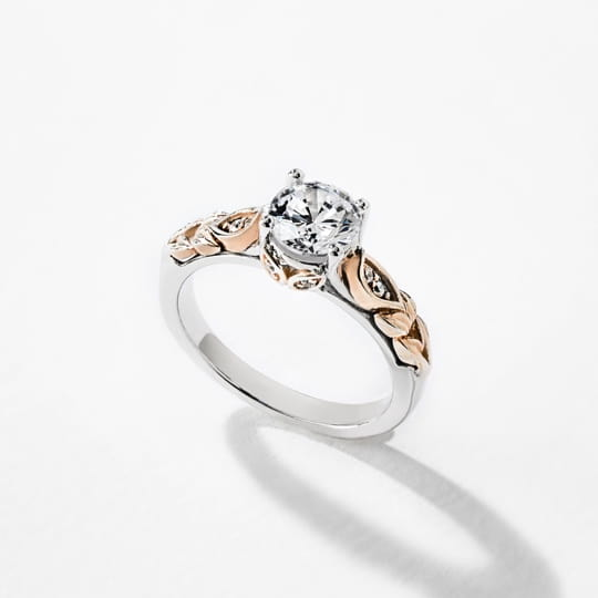 shop ethical two tone engagement rings