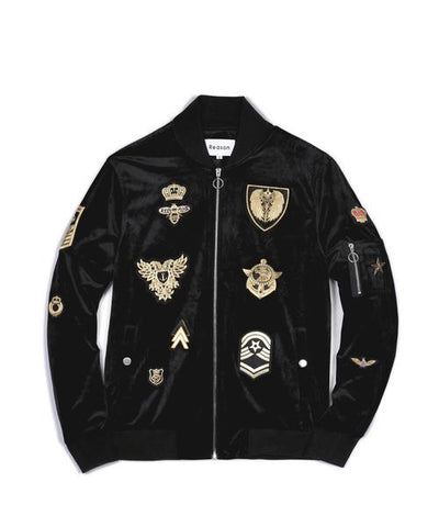 Reason Clothing Velour Bomber - Black