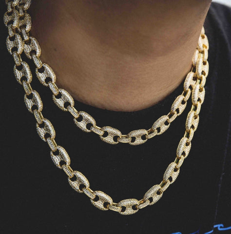 The Gld Shop Iced Gucci Link Necklace - Gold
