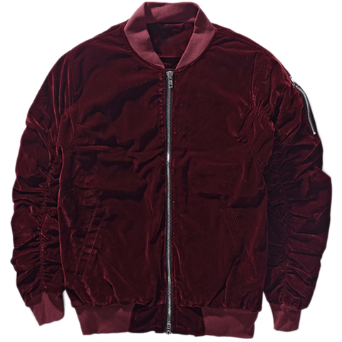 DSRCV Velour Bomber Jacket - Burgundy