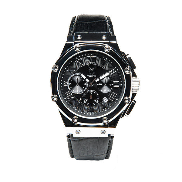 Meister Watches Ambassador SS Croc Leather Band Watch – Polished Silver