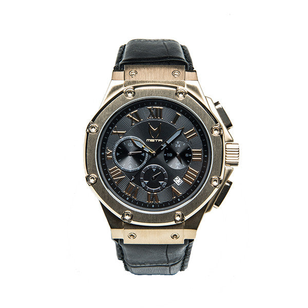 Meister Watches Ambassador Croc Leather Band Watch – Champagne Gold|Black