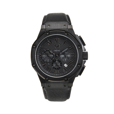 Meister Watches Ambassador All Black Leather Band Watch – Black