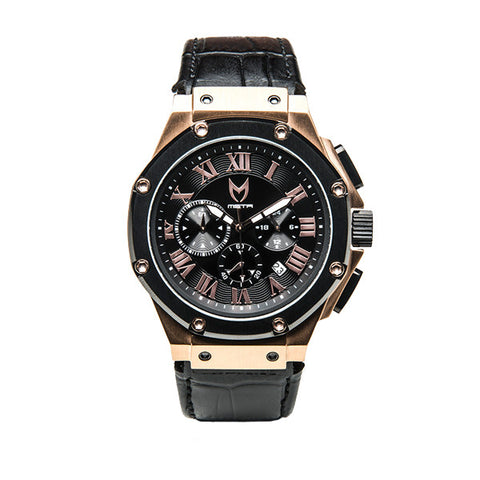 Meister Watches Ambassador  Croc Leather Band Watch – Rose Gold|Black