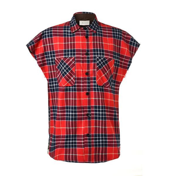 DSRCV Flannel Vest Shirt - Red/Navy