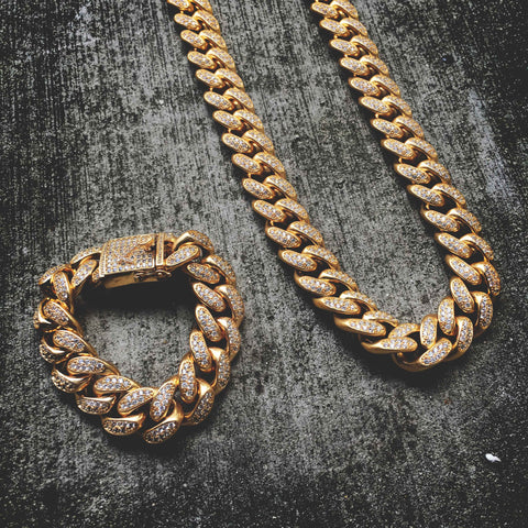 The GLD Shop 19MM Necklace & Braclet Bundle - Gold