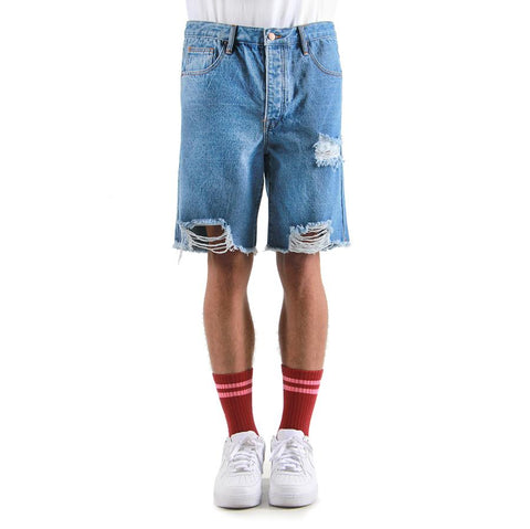 Eptm Blue Cut Denim Shorts