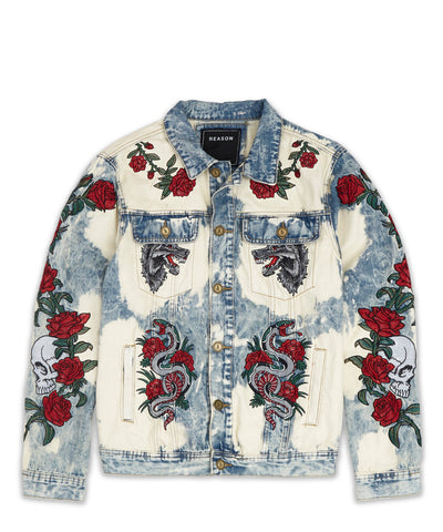 Reason Clothing - Bones and Roses Denim Jacket