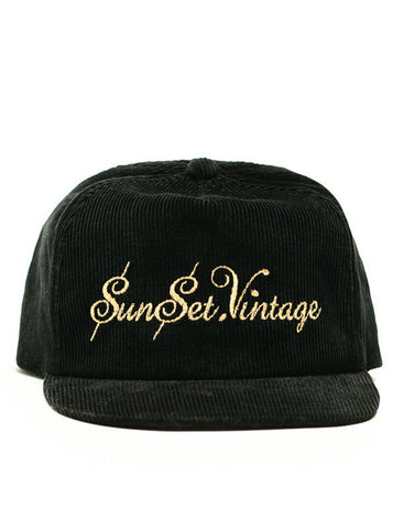 Sunset Vintage Flex Loyalty Reward Corduroy Strapback Cap - Black
