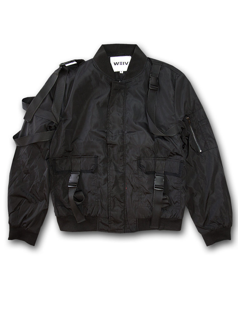 Weiv Los Angeles Strap Bomber Jacket - Black